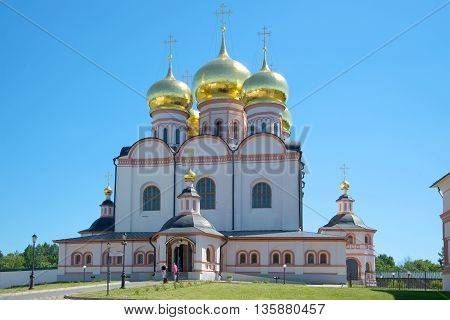 NOVGOROD REGION, RUSSIA - JULY 04, 2015: The cathedral of the Iberian Mother of God. Iversky Svyatoozersky Virgin Monastery, Religious landmark  of the Novgorod region