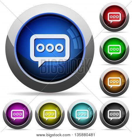 Set of round glossy Working chat buttons. Arranged layer structure.