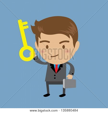 Businessman showing the key to success Business concept