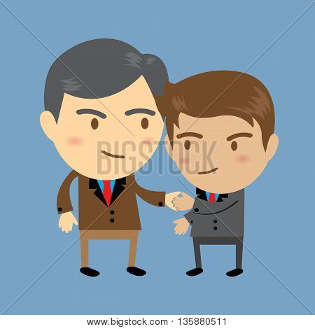 Two businessmen one senior and one young shaking hands Business concept