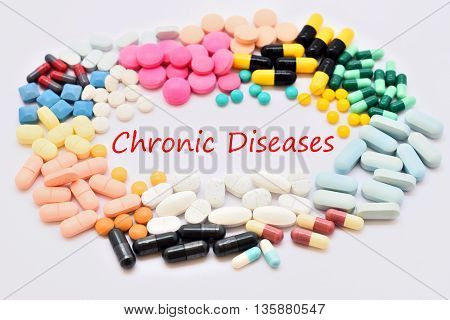 Drugs for chronic diseases treatment, medical concept
