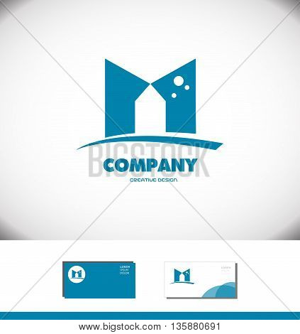 Vector company logo icon element template alphabet letter M flat blue