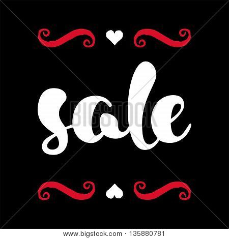 Modern SALE poster. Discount banner in red, black and white. Hand written lettering. The word SALE with swashes. Calligraphy design element. Sale background. Vector illustration.