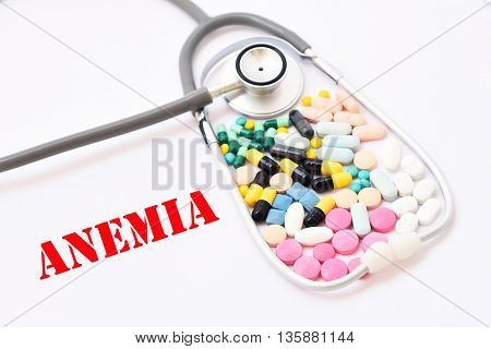 Various of drugs for anemia treatment, medical concept