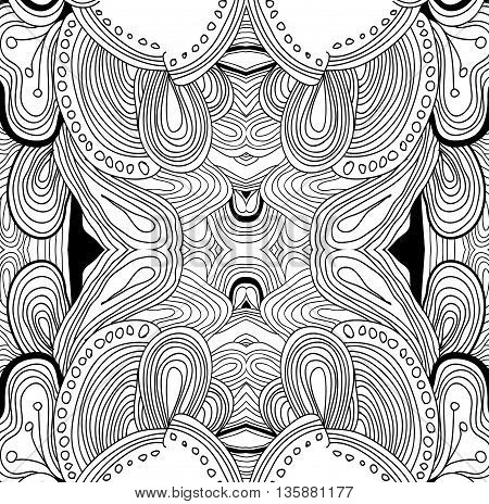 Coloring book page for adults. Mandala with vintage flowers pattern. Zendala. Zentagle. Can be used as coloring page, card, invitation. Vector.