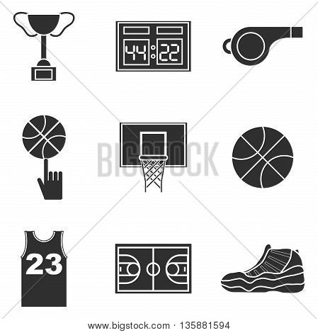 Basketball icon set. Vector illustration, EPS 10