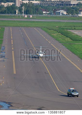 Kiev Ukraine - May 17 2012: Business jet is taxiing after a