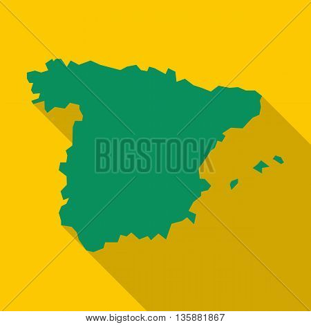 Map of Spain icon in flat style with long shadow. Territory symbol