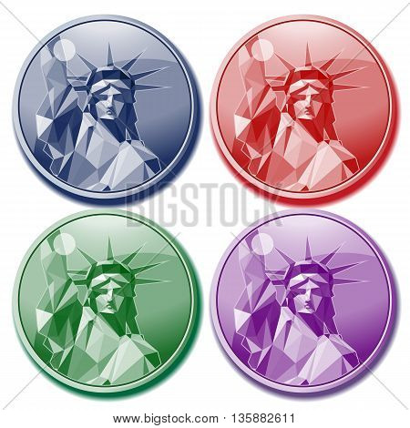 Fourth of july independence day card set with statue of liberty in blue red green and purple colors. Digital vector image