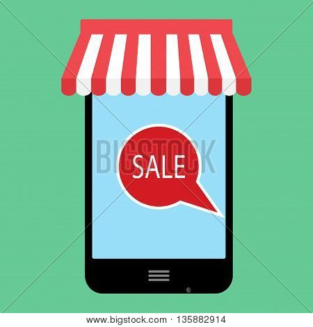 Sale online shopping. Discount and sale tag for marketing. Marketing with app and e-shopping service vector illustration