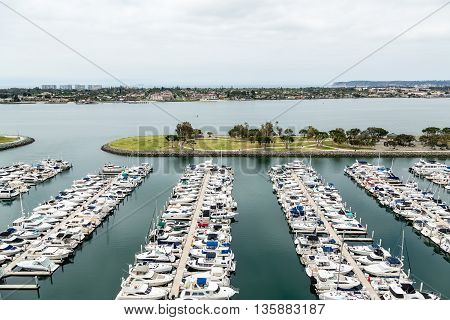 Many yachts in a marina in San Diego