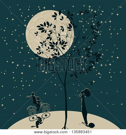romantic date. Silhouette of a girl and a guy on a bicycle on the globe on the background of the sky and the moon under the tree