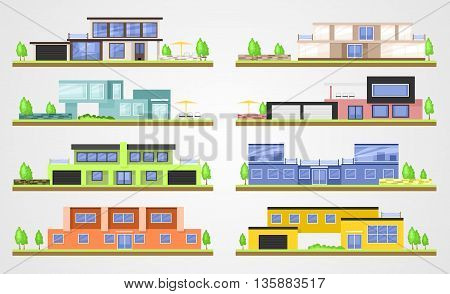 Vector modern homes. Flat vector building set