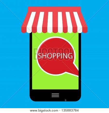 Shopping online with use phone. Vector shopping icon and online ecommerce illustration online store