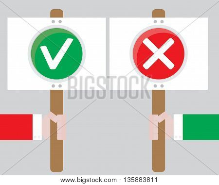 Human right to choose the positive and negative. Choice and selection decision and decide Vector choose concept and illustration