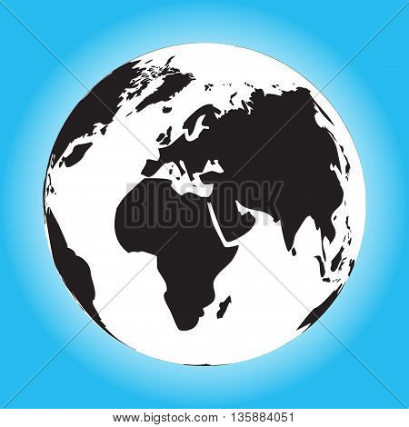 Black and white globe. Black world and world globe black globe travel and black orb vector illustration