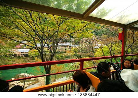 Tourists Sightseeing View From Sakano Romantic Train