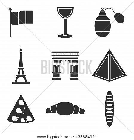 Paris, France Icons set. Design Travel Concept. Vector illustration, EPS 10