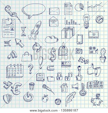 illustration of hand draw set business icons on paper