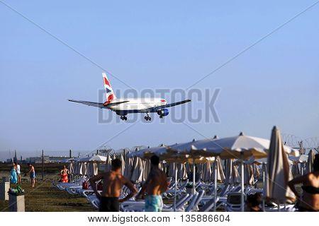 Larnaca Cyprus - May 22 2016: British Airways Airbus A320 landing at Larnaca International Airport