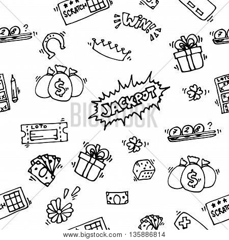 Lottery game pattern with balls and cards. Vector illustration, EPS 10