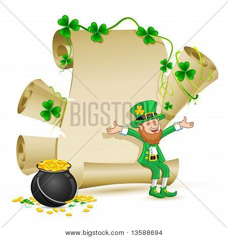 Leprechaun Sitting On Scroll Paper With Gold Coin Pot