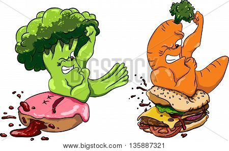 Broccoli vs donut, healthy food fast food , competition