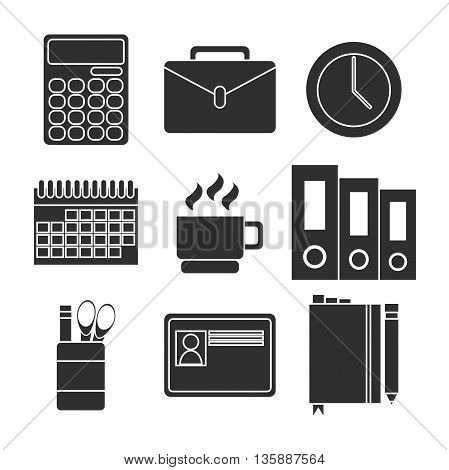Office equipment icon set objects, business items, working elements, desk supplies, everyday equipment. Modern trend design style vector concept. Isolated on white background.
