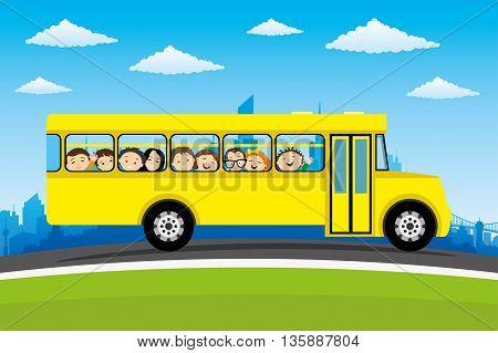 Happy children go to school on a school bus.