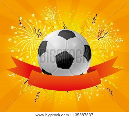 A soccer ball and a red ribbon on a background of fireworks.