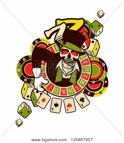 vector emblem azarntny player the spirit of good luck in the background poboedy attributes and good luck in the casino win