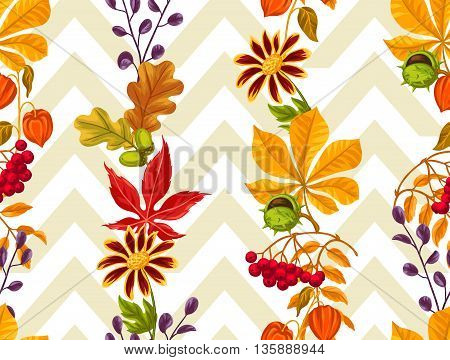 Seamless pattern with autumn leaves and plants. Background easy to use for backdrop, textile, wrapping paper.