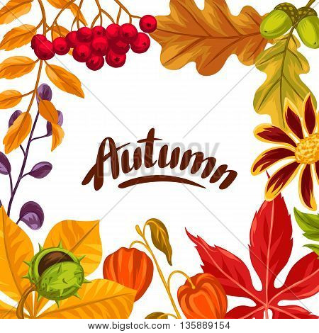 Frame with autumn leaves and plants. Design for advertising booklets, banners, flayers, cards.