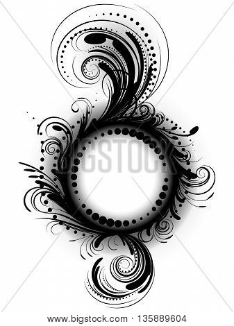 Curly pattern of black color on a white background