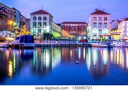 Prokurative square and promenade in evening, Split Croatia.