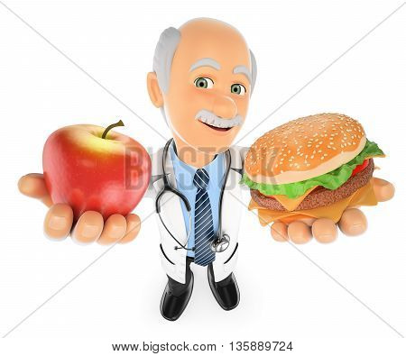 3d medical people illustration. Doctor choosing between an apple and a hamburger. Isolated white background.
