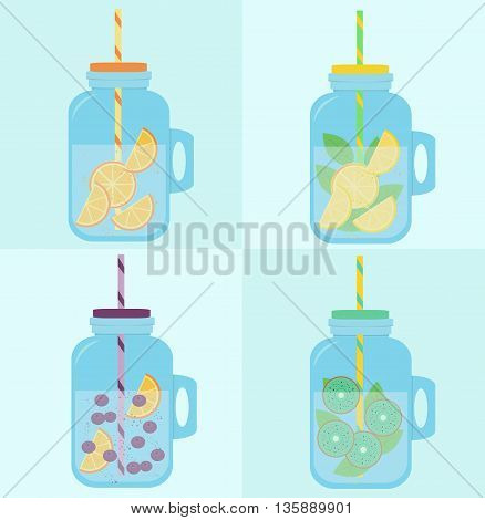 Flat colorful design style modern vector illustration set of mason jar vectors. Summer lemonades with fruits: lemon, kiwi, orange, strawberries, mint, isolated on blue dotted background.