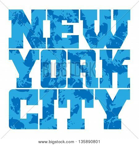 T shirt typography graphics New York. Athletic style NYC. Fashion american stylish print for sports wear. Blue grunge emblem. Template for apparel card poster. Symbol of big city Vector illustration