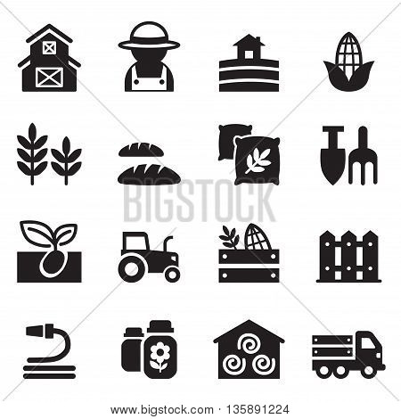 Agriculture and Farming icons set vector illustration  graphic design