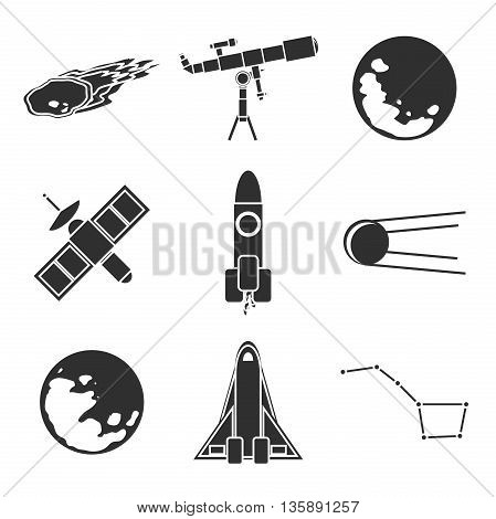 Icons of space and astronomy. Vector illustration, EPS 10