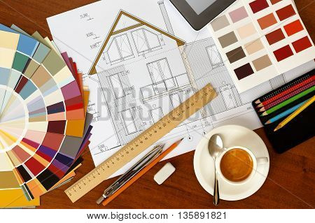 architectural facade drawing Two color palette guide pencils and ruler.Graphic designer at work