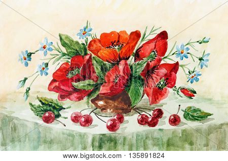 rural still life red poppies wild flowers and cherries. watercolor painting. Illustration