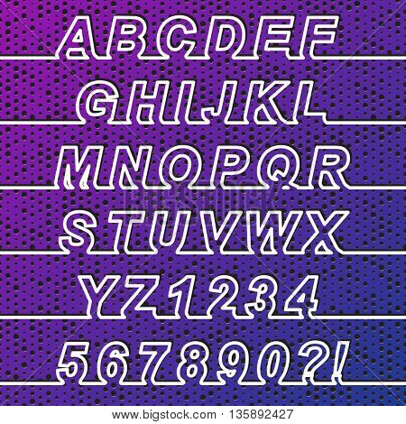 One Line Font, latin alphabet letters and arabic numbers. White line with shadow on perforated color background. All symbols in a separated groups