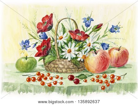 rural still life of daisies poppies cornflowers fruit and berries. watercolor illustration