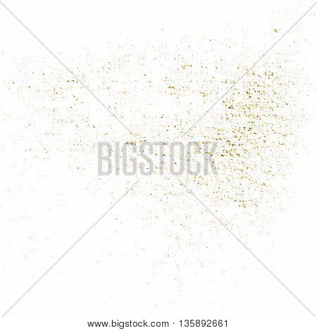 Dust gold texture. Patina scratch golden elements. Sketch surface to create distressed effect. Overlay distress grain graphic design. Stylish modern dirty background decoration. Vector illustration