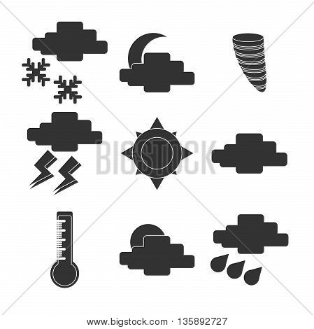 Meteorology Weather icons set. Vector illustration, EPS 10