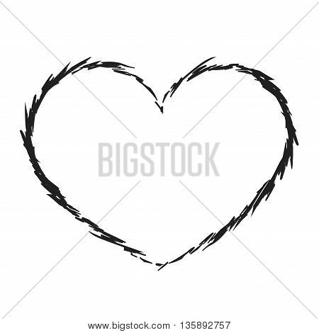 Black heart icon. Grunge texture shape sign, isolated on white background. Symbol of romantic, love, passion. Drawing design element Valentine day, holiday or greeting, decoration. Vector illustration