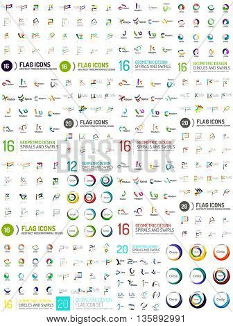 Huge logo mega set, abstract geometric business icon collection. Branding corporate logotypes, identity universal concepts