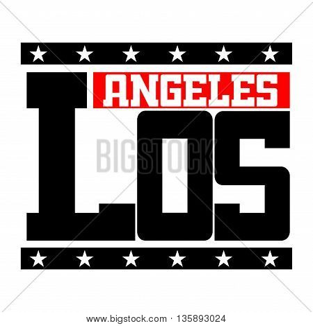 T shirt typography graphics Los Angeles California. Athletic style LA. Fashion stylish print emblem for sports wear. Template for apparel, card, poster. Symbol of american big city Vector illustration