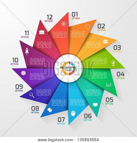 Windmill style circle infographic template for graphs charts diagrams. Business education and industry concept with 12 options parts steps processes.
